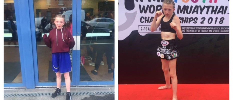 Left - Chloe at the National Stadium on Friday  Right - Chloe in her Muay Thai gear
